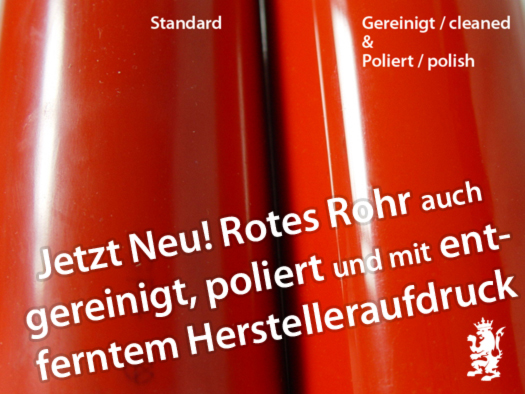 rotes PVC Rohr poliert