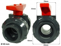 PVC True Union Ball Valves grey/red 40mm