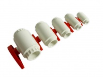 PVC True Union Ball Valves white/red 32mm compact