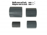 PVC pipe socket / bushing Ø 50mm - 1.5  grey